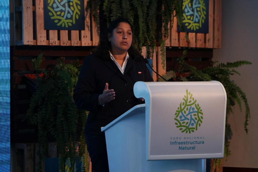 Minister of Environment Fabiola Muñoz speaking at the 2019 National Forum on Natural Infrastructure in LIma, Peru.